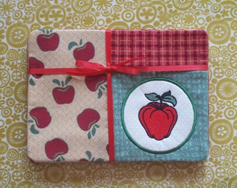 Apple Applique Fabric Snack Mat Mug Rug Set of 4