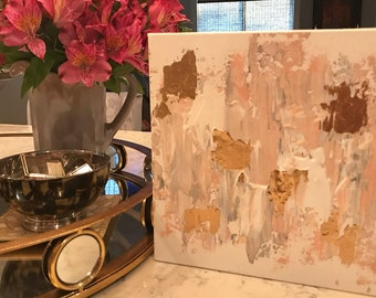 Gold and Pink Abstract Painting, High Gloss Resin Painting, Custom Canvas Painting
