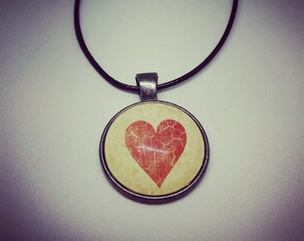 Playing Card Necklace   Heart   Handmade