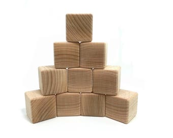 Blocks baby 10 to 20 building cubes, large wood block size, natural