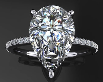 eliza ring - 3.5 carat pear cut NEO moissanite engagement ring, conflict free