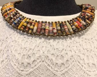 Cleopatra Style Recycled Paper Bead Necklace, Handmade in Uganda