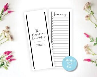 Printable, Editable PDF, Eternal Calendar - Perpetual Calendar - Eternal Birthday, Remembrance, Anniversary Calendar - Instant Download