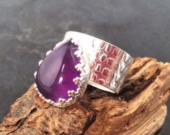 SALE Handmade sterling silver  amethyst ring, hallmarked in Edinburgh