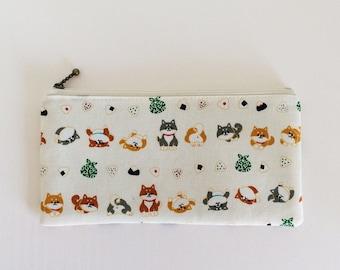 Flat  zipper pouch  - Shiba inu and onigiri