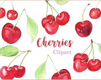 Watercolor Cherries Clip Art Set, Cherry watercolor, Fruit clip art, Culinary clipart,  digital Download