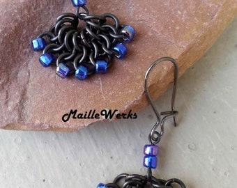 Peacock Blue Iris Fan Dangle Beaded Chainmaille Drop Earrings, Small Iridescent Blue & Black Earrings, Hanan Hall Jewelry Maillewerks