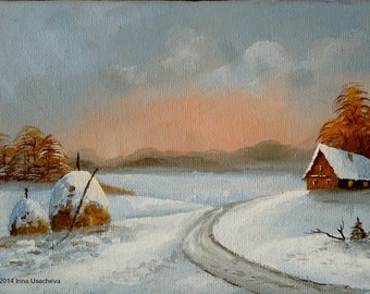 "Original Oil Painting for Sale: ""Winter Sunset. Haystacks"", landscape"