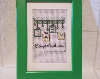 Congratulations baby cross stitch frame