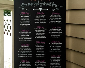 Custom Rustic UNFRAMED 18x36 Chalkboard Wedding Party Seating Sign