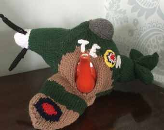 Hand knitted Spitfire tea cosy