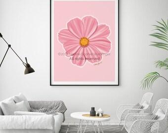 Flower Print, Flower Wall Art, Botanical Print, Floral Print, Living Room Wall Art, Kitchen Decor, Flower Art, Pink Flower, Flower Poster