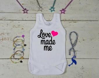 Love Made Me Baby Onesie-Love Made Me-Baby Girl Shower Party-Heart Onesie-New Baby Bodysuit-Cute Baby Onesie-Print Bodysuit-