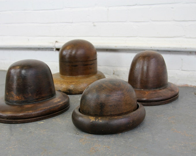 Early 20th Century Wooden Milliners Hat Forms Circa 1910