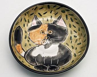 Ceramic Cat Feeding Dish - Pet Feeding Bowl - Calico Cat - Cat Feeding Dish - Clay Pottery Majolica - Pet Food Bowl - Orange - Shallow Bowl