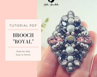 Tutorial PDF | Tutorial Brooch | DIY Brooch | Jewelry Making | Bead Embroidery | Brooch with Swarovski | Grey, Blue, Pink Brooch | Royal