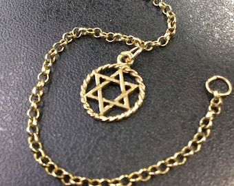 9ct gold Star of David on a bracelet