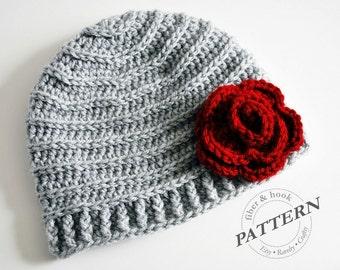 CROCHET PATTERN - Crochet Beanie Pattern, Crochet Hat Pattern, Crochet Flower Hat Pattern (Toddler, Child, Adult Sizes) pdf #013H