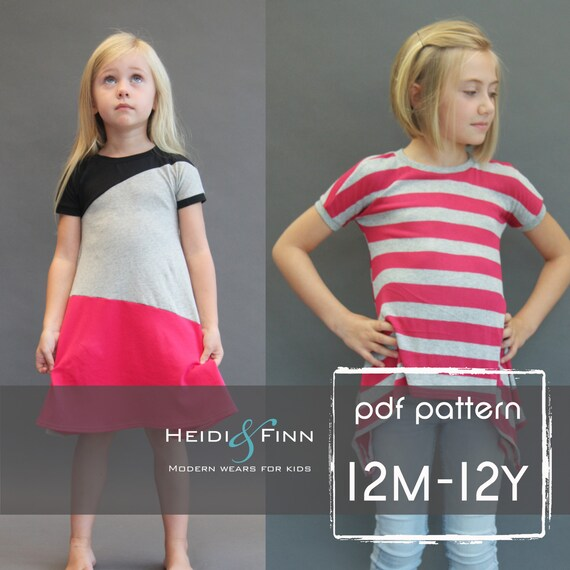 Kopic tunic dress PDF sewing pattern and tutorial 12m-12y