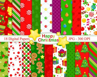 Happy Christmas- Digital paper set - Christmas Backgrounds