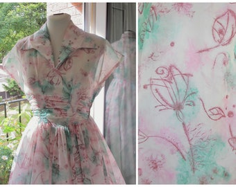 1950s Dress 50s Pink Green Floral Dress Sheer Dress Nylon Organza Dress Full Skirt with Pink Slip S / M