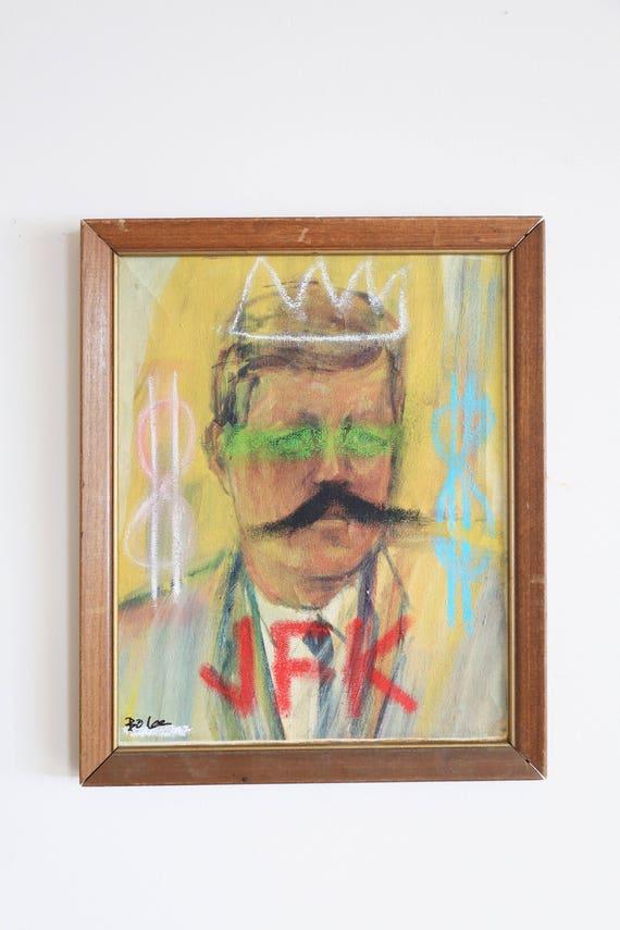 JFK - original artwork / wood frame