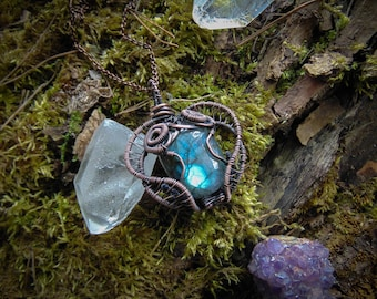 Labradorite necklace, copper labradorite pendant, spectrolite pendant, birthstone pendant, witchy pendant, elven pendant, fantasy jewelry