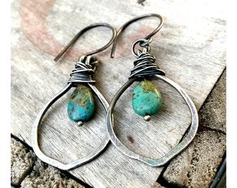 Fine Silver Turquoise Drop Earrings