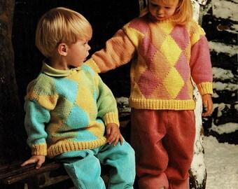 Toddlers Aran, Diamond Pattern Sweaters, Vintage Knitting Pattern - PDF, Digital Download