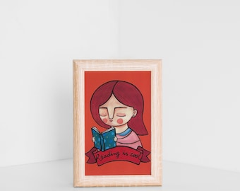 Reading is cool postcard, book lover illustration, bookish card for book addicted