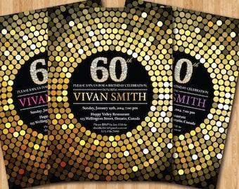 60th birthday invitation for Women. Gold Glitter Birthday Party invite. Diamond. Adult Surprise Birthday. Elegant. Printable digital DIY.