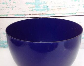 Vintage Kaj Franck Finel Arabia Cobalt Blue Bowl | enamel enamelare | kitchen chef cook cooking mixing serving | Mid Century Modern | kitsch