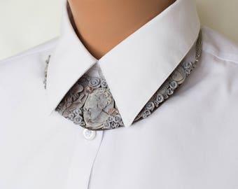 Necklace gray cameo Greek cameo necklace Polymer clay collar Collar grey cameo Necklace collar grey Necklace grey rose Floral necklace clay