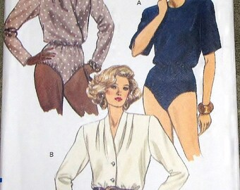 Vogue 7919 Bodysuit, Snap Crotch, Wrap Bodice Womens Misses Very Easy Vintage Sewing Pattern Size 14 16 18 Bust 36 38 40 Uncut Factory Folds