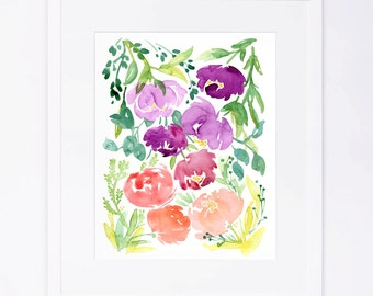 Peony Floral Watercolor Cluster Print