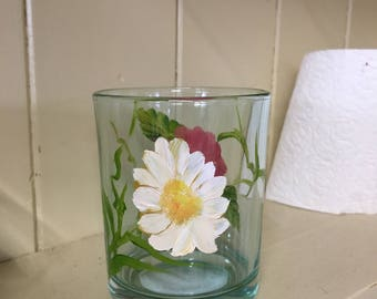 Glass Hand Painted Summer Votive/tea light holder