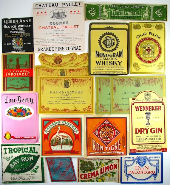 21 vintage paper labels juice labels vintage labels bay rum gin whiskey french labels egypt france england santander from bottlesandbygones on