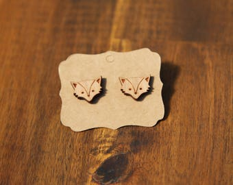 Fox earrings, laser cut wood