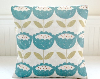 cushion cover teal blue, leaves, retro flowers ,16 inch decorative pillow cover