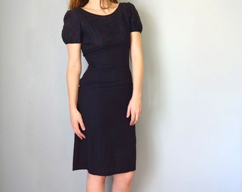 Vintage EVELYN Dress • 1960s Clothing • Dark Navy Blue Short Cap Sleeve Lace Knee Length Cocktail Party •Sheath Shift Midi •Women Small