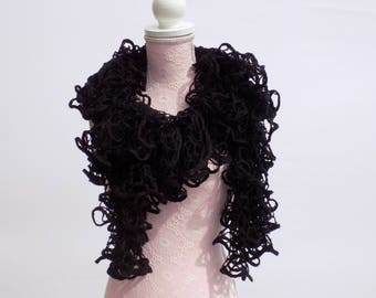 Scarf knit hand flared black ombre cowl scarf women's trendy, modern scarf hand knitted black woman