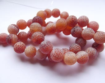 48 smooth Crackle REIA 433 8 mm frosted agate round beads
