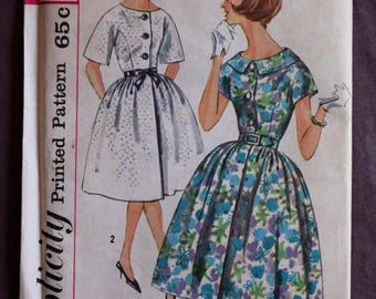Misses 50s 60s Rockabilly Full Skirt Button Up Dress with Kimono Sleeves Vintage Simplicity 3829 Sewing Pattern Size 14 Bust 34 Uncut & FF