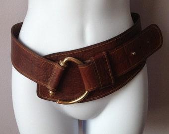 Vintage wide brown leather belt - 1990's - Reduced!