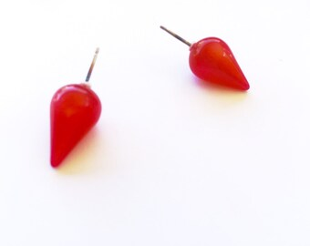 Red Spike Stud Earrings | Cherry Red Moonglow Bullet Studs | vintage lucite post earrings