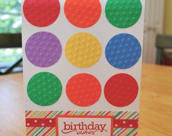 Birthday Card - Colorful Birthday Wishes Greeting Card - Blank Inside