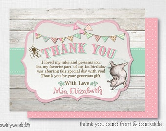Charlotte's Web Thank You Cards, Charlotte's Web Theme Party, Printed Charlotte's Web Thank You Cards, 1st Birthday Thank You Notes DI-3020