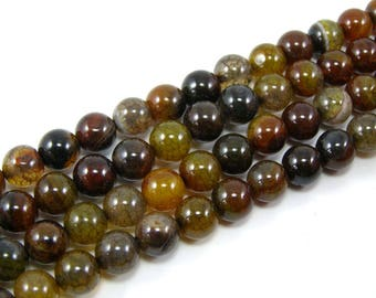 Brown set 8 mm dragon vein agate bead 4