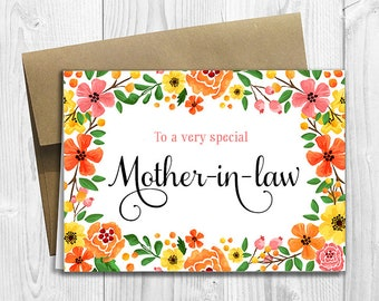 To a very special Mother-in-law - Mother's Day / Birthday / Any Occasion -  5x7 PRINTED Greeting Card - Spring Flowers Floral Notecard