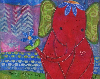 Print Red Elephant Baby 8x10 by Elizabeth Claire